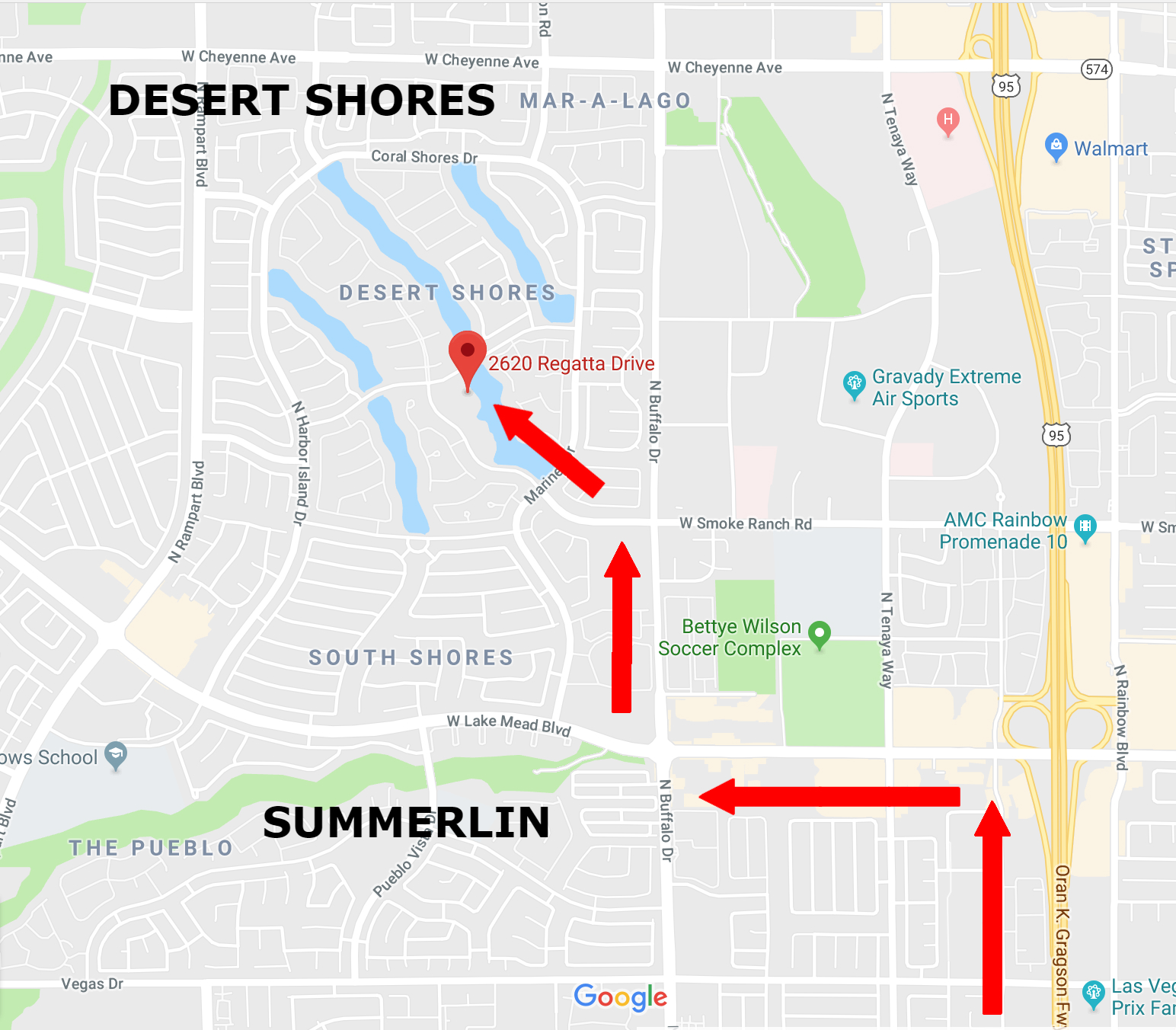 Map to Lakeside Event Center in Las Vegas