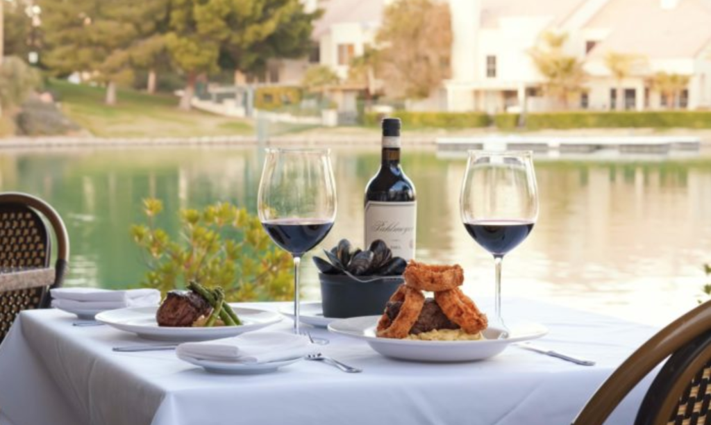 Table View at Marche Bacchus Restaurant on the Lake in Desert Shores Summerlin Las Vegas
