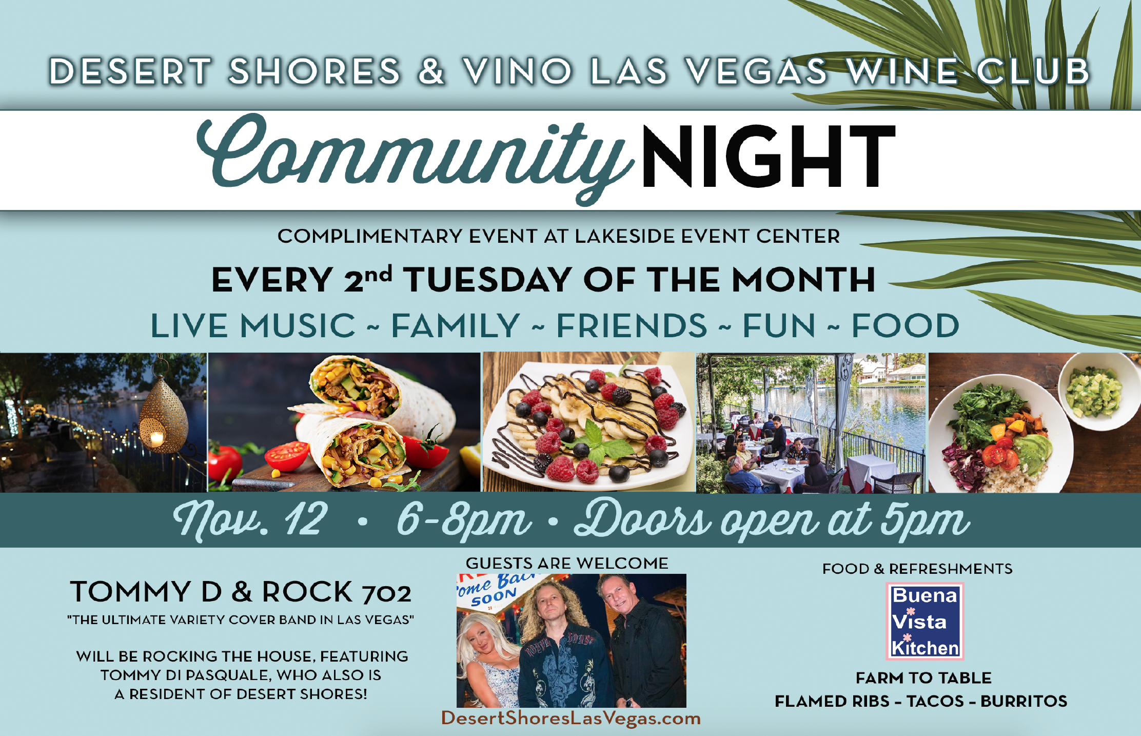 Desert Shores Vino Las Vegas Wine Club Community Event Flyer for November 12, 2019