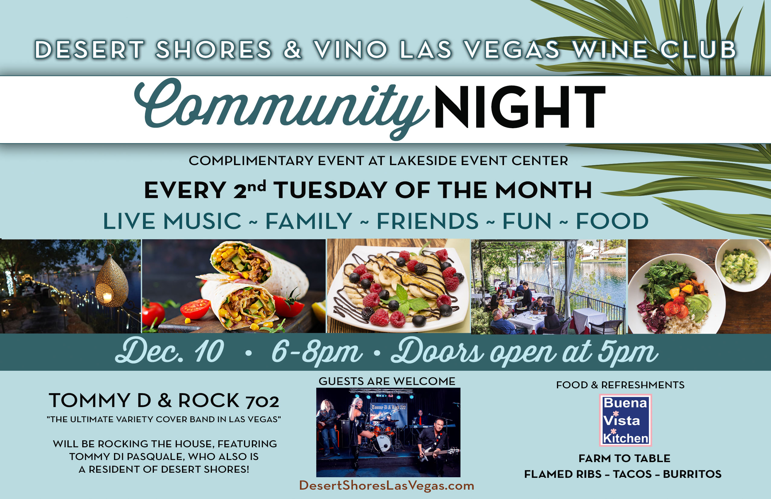 December 10th Desert Shores Community Events Flyer