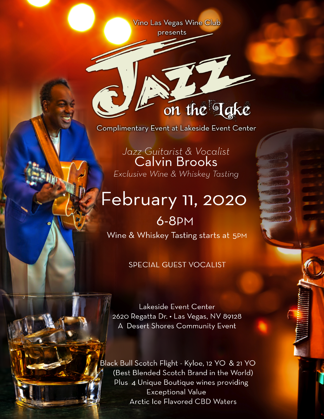 Calvin Brooks Jazz Flyer for February 11th, 2020 event at Lakeside Event Center